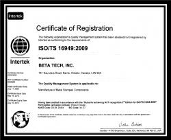 BetaTechISO_TS_16949-2009cert